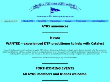 Cached version of Amateur Yacht Research Society