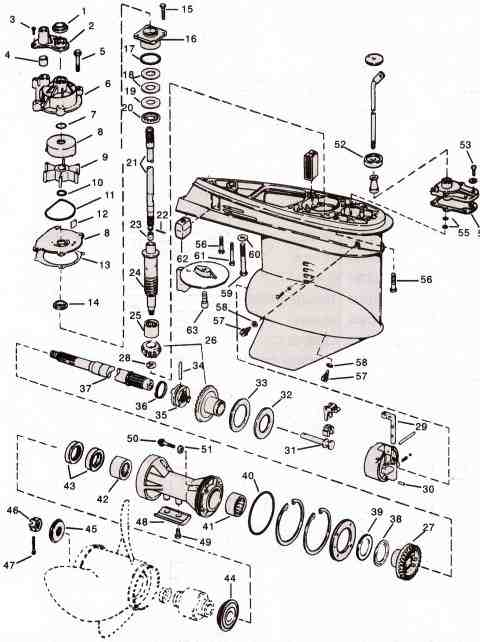 evinrude-johnson-outboard-parts-v4-drawing