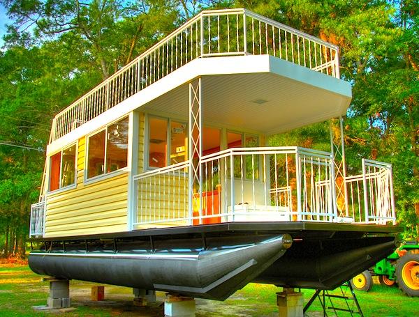 30 houseboat tiny house on pontoonjpg - Cabin Home Built Houseboat Plans