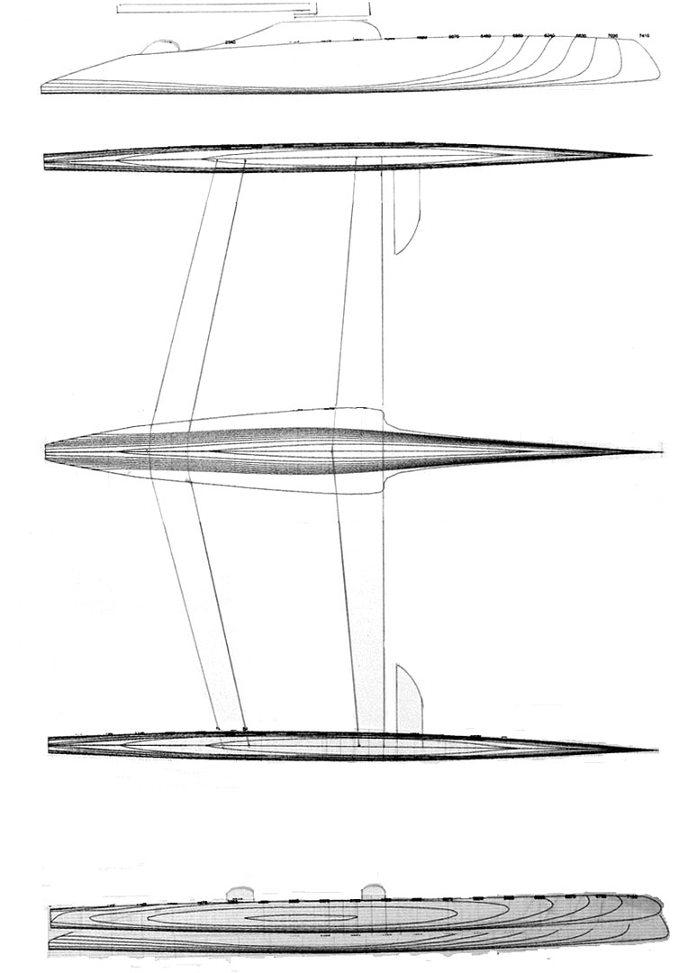 Trimaran Design Concept with longer foils than the main hull