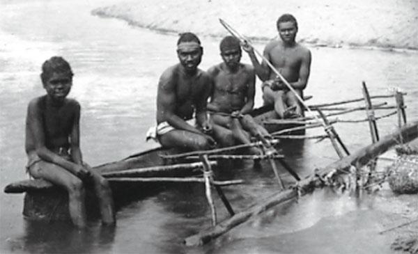 Aboriginal canoe on the Barron River, 1890s..jpg