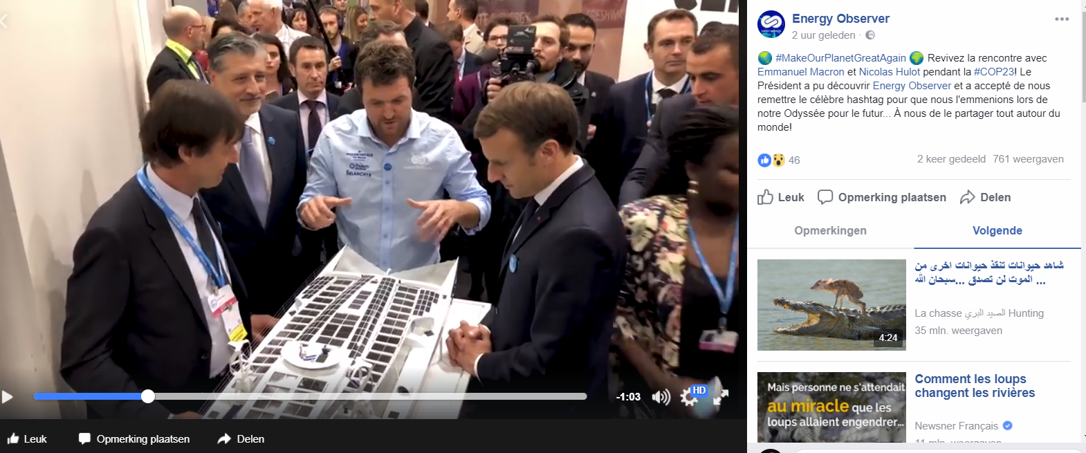 Emmanuel Macron visits scale model of Energy Observer.PNG