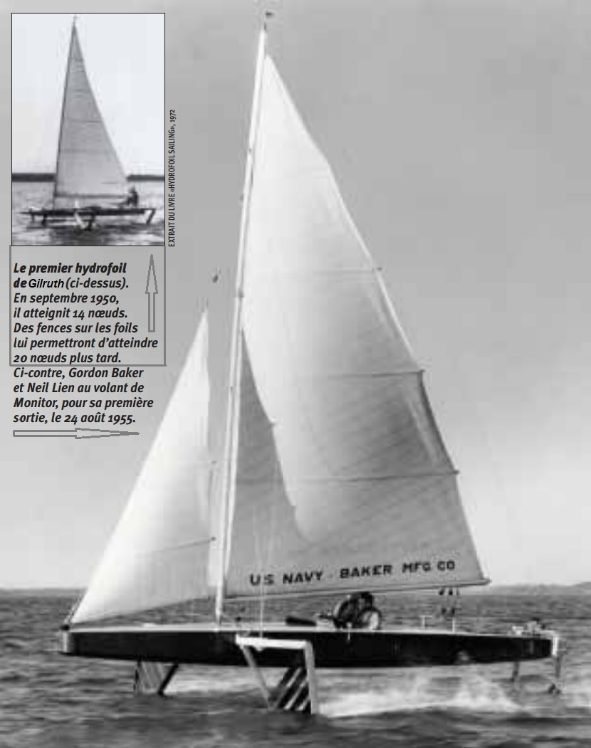 Evolvement of foiling sailboats over the last 70 years Gordon Baker 1955.jpg