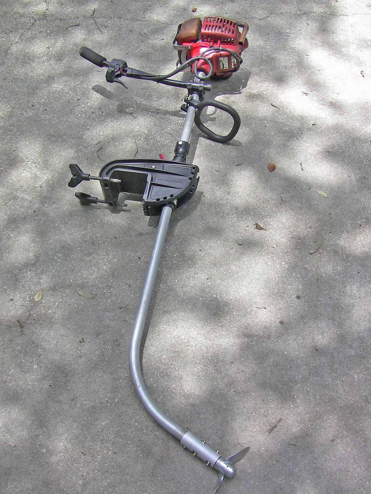 Лодочный мотор своими руками из бензокосилки