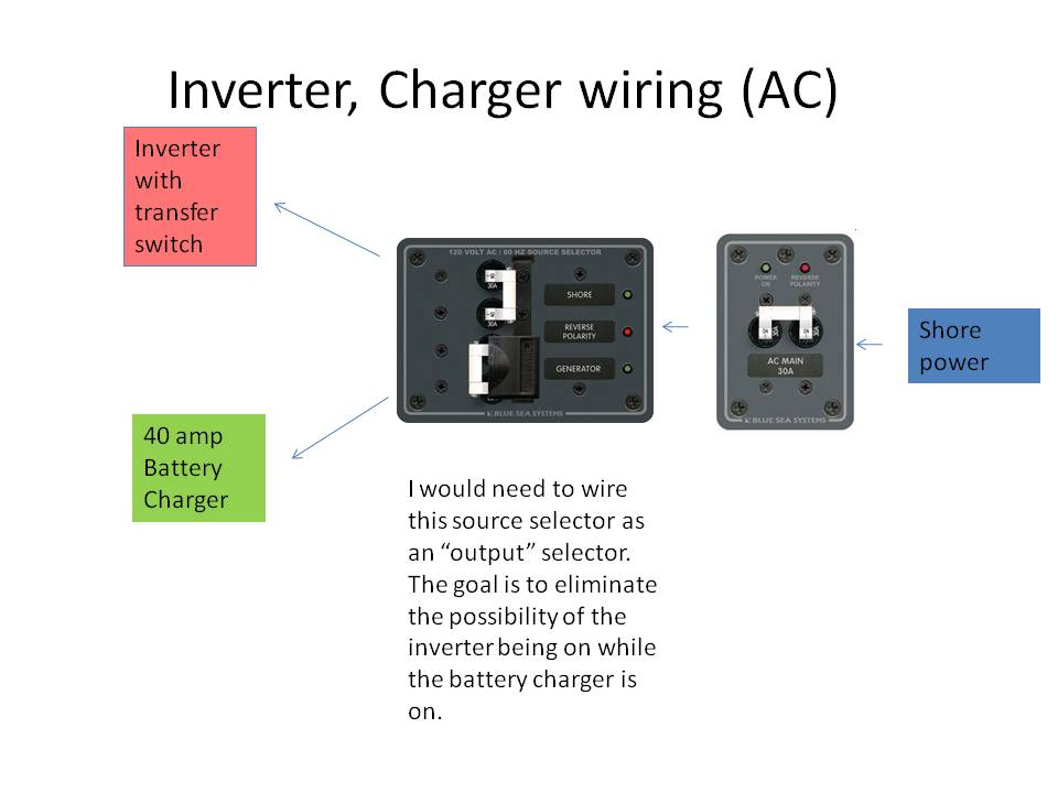a c input wiring for an inverter and separate battery charger boat rh boatdesign net xantrex inverter charger wiring diagram Marine Inverter Wiring Diagram