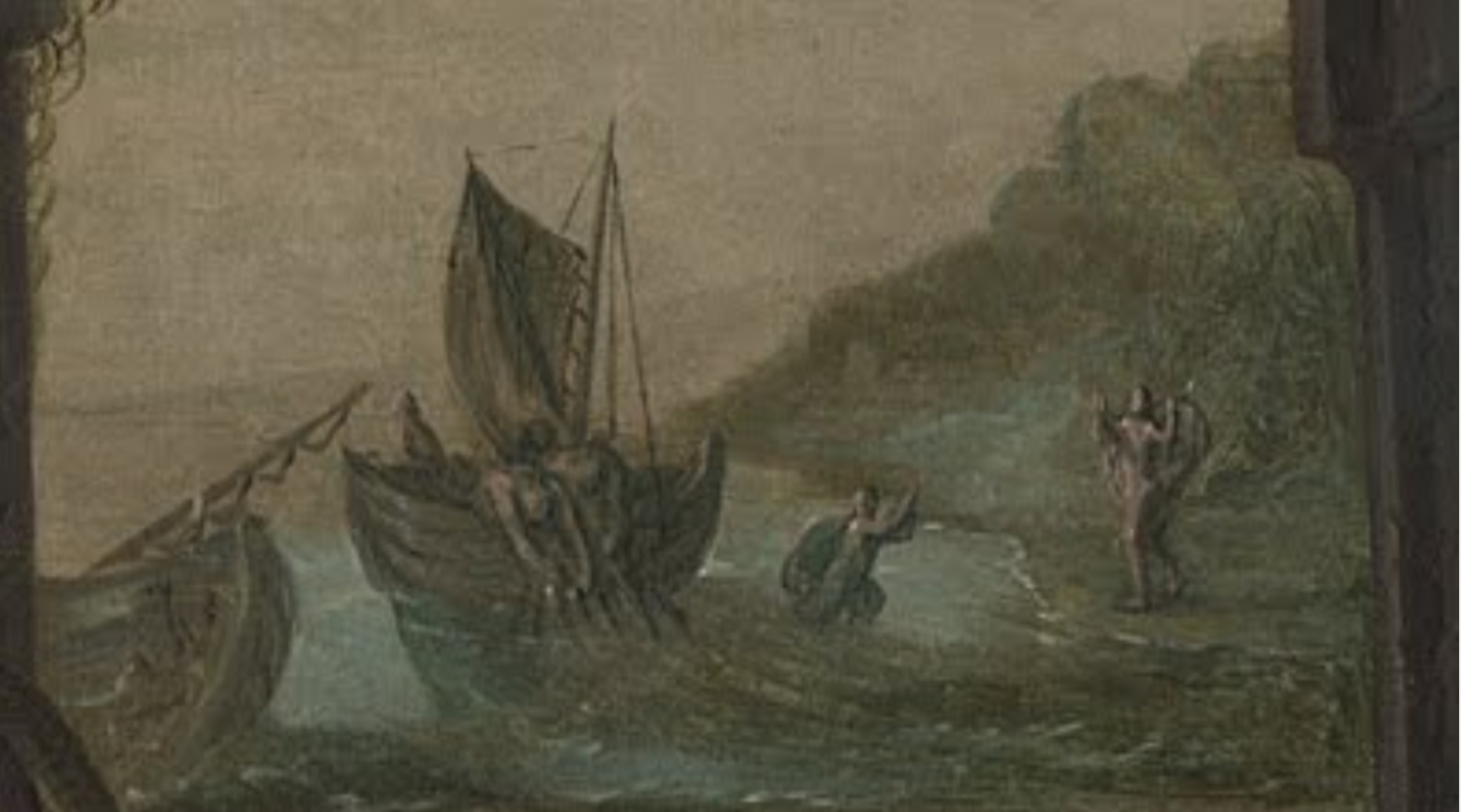 Joachim Beuckelaer Four Elements 1569 painting Water background detail Jesus walks on the sea.jpg