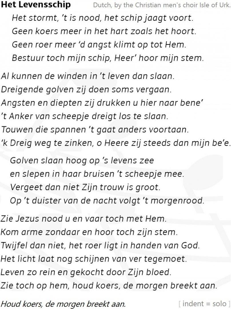 lyrics of het levensschip in Dutch by the Christian men's choir Isle of Urk.jpg