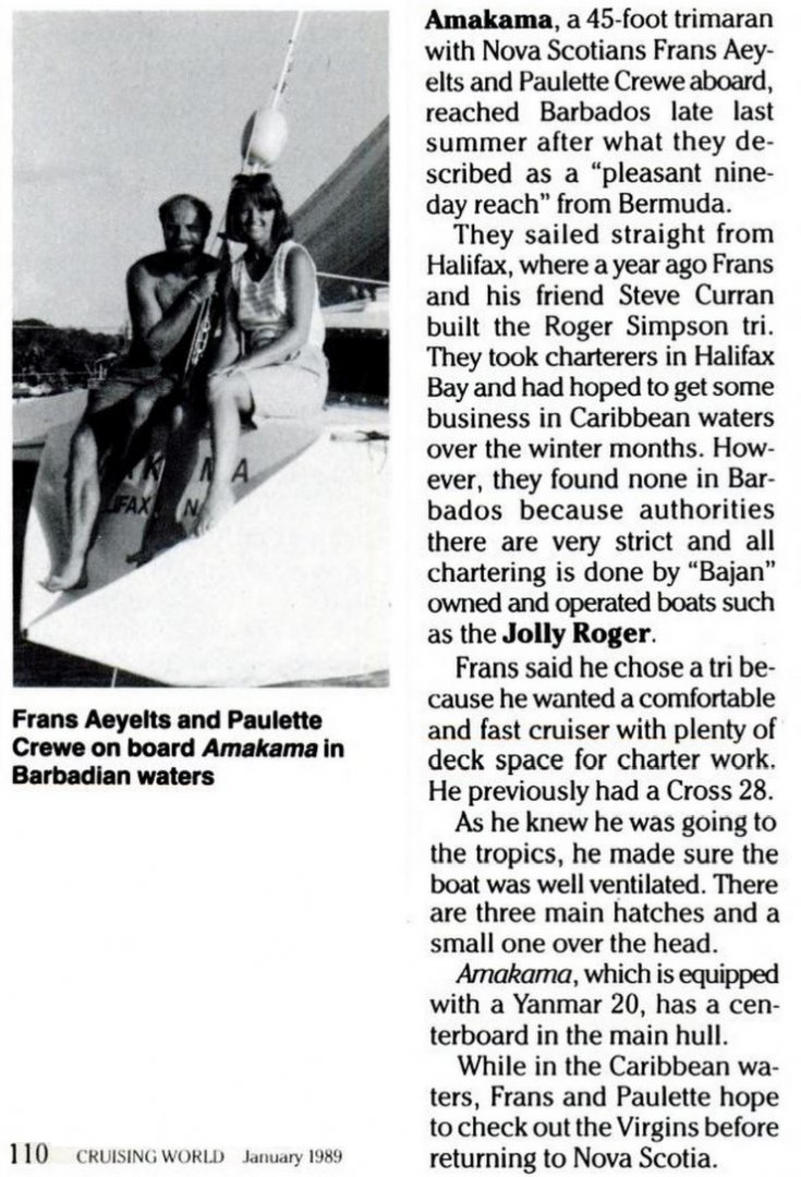 Roger Simpson Liahona Trimaran Amakama Frans Aeyelts Steve Curran Cruising World Jan 1989 P 110.jpg