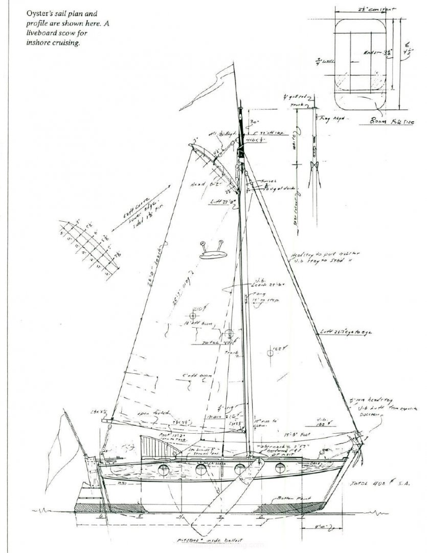 Sailing Shanty Boat William Garden Design 617 B OYSTER 24.5 ft scow barge yacht mystic seaport 1.jpg