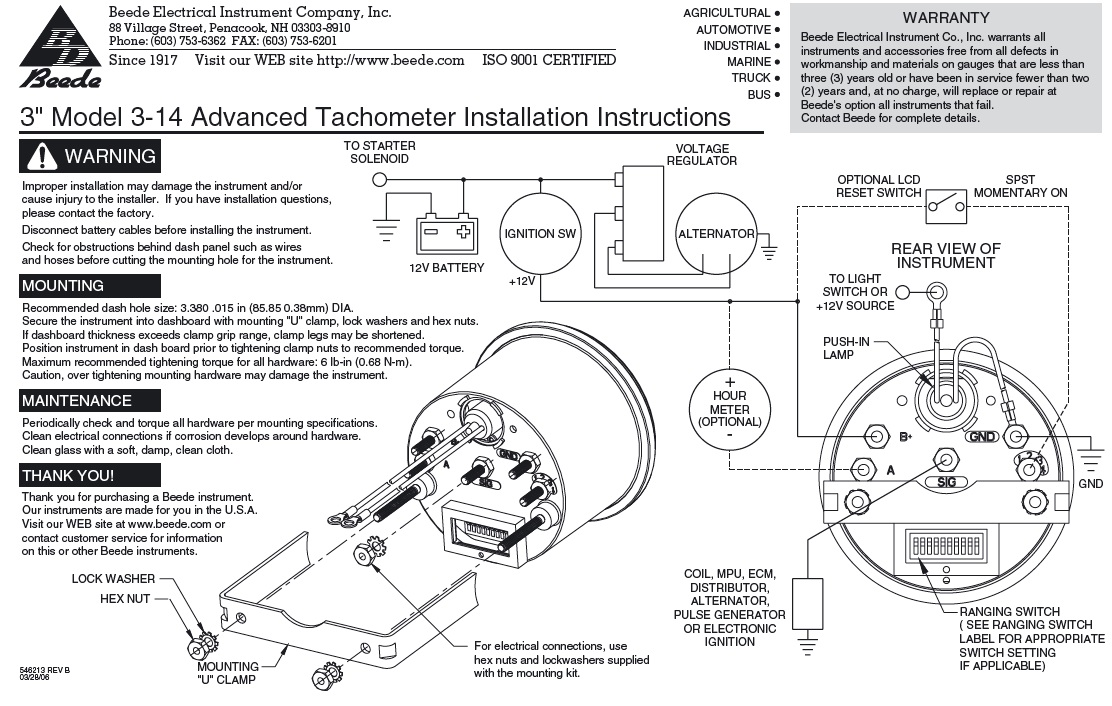 4 Wire Tachometer Wiring Diagram - Wiring Data