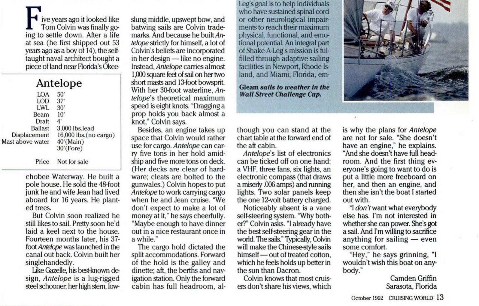 Tom Colvin 37ft Cargo Schooner Antelope Cruising World Oct. 1992 page 13 bottom.jpg