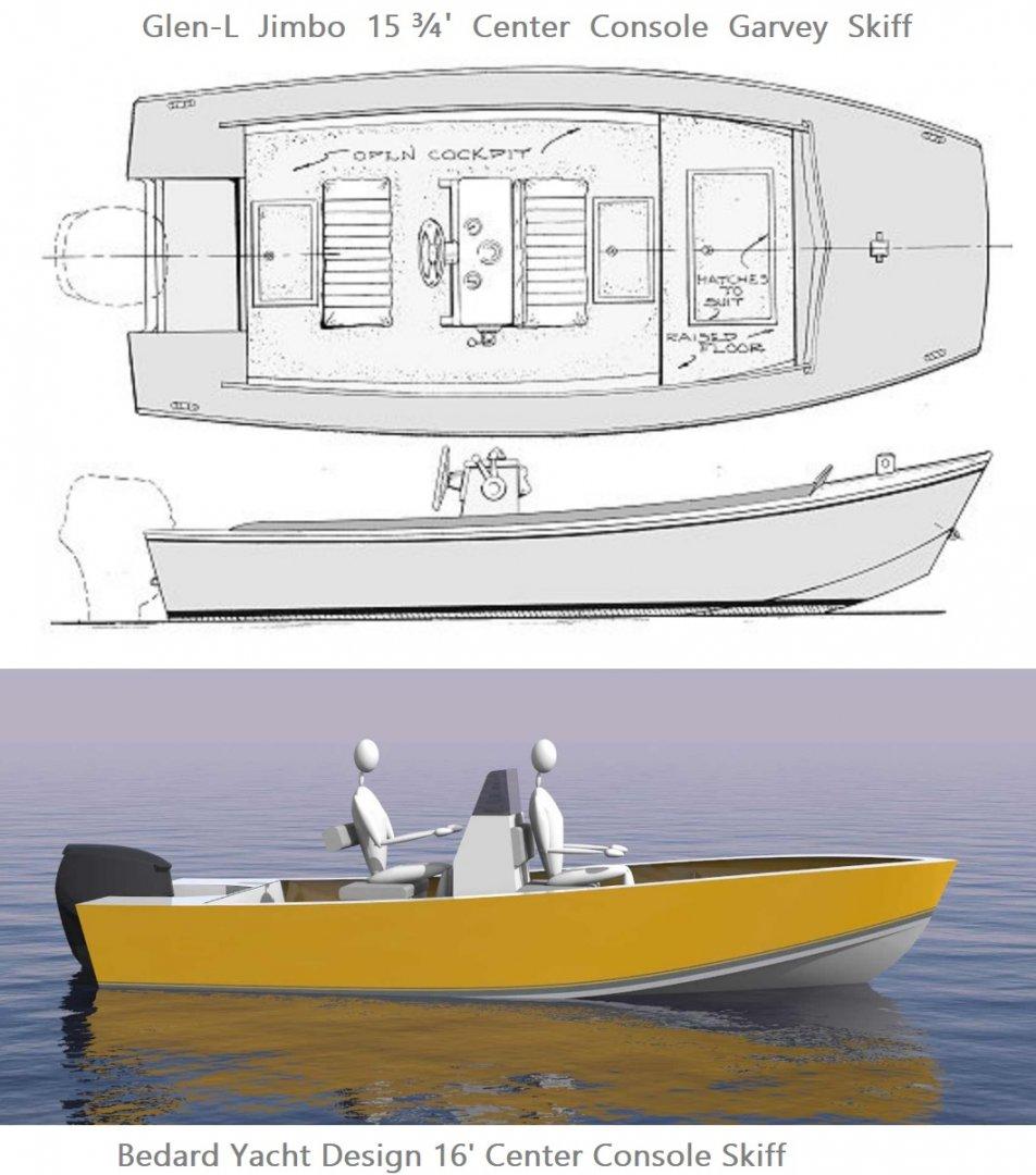 Waterline Length Bedard Yacht Design 16 ft Skiff vs Glen-L Jimbo 15 ft 9 in Garvey Skiff.jpg
