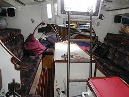 Serendipity 43 Interior, aft of the companionway