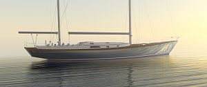 78' ketch by Robb Ladd Yacht Design as seen through morning haze