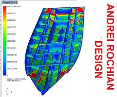 Finite Elements Analysis Testing of the aluminium Boat Bottom