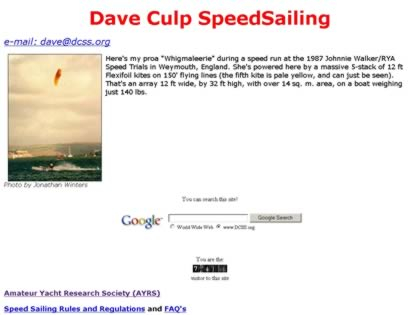 Cached version of Dave Culp SpeedSailing