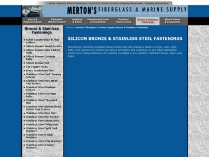 Cached version of Merton's Fiberglass and Marine Supplies:  Fastenings