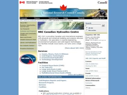 Cached version of Canadian Hydraulics Center, National Research Council