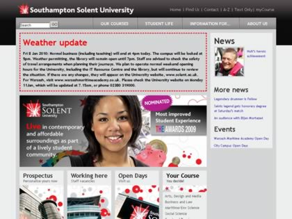 Cached version of Southampton Institute Homepage