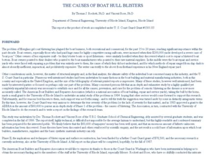 Cached version of The causes of boat hull blisters