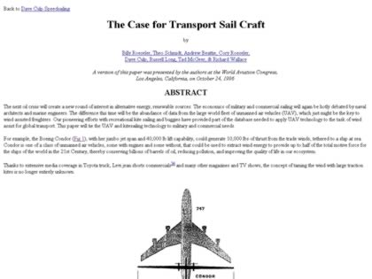 Cached version of The Case for Transport Sail Craft