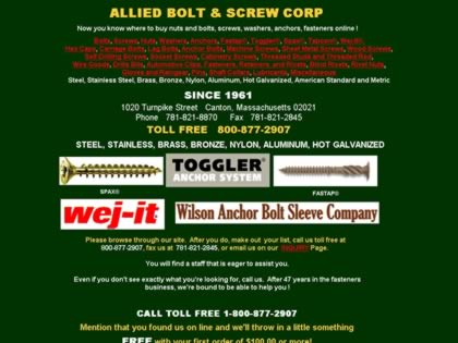 Cached version of Allied Bolt & Screw
