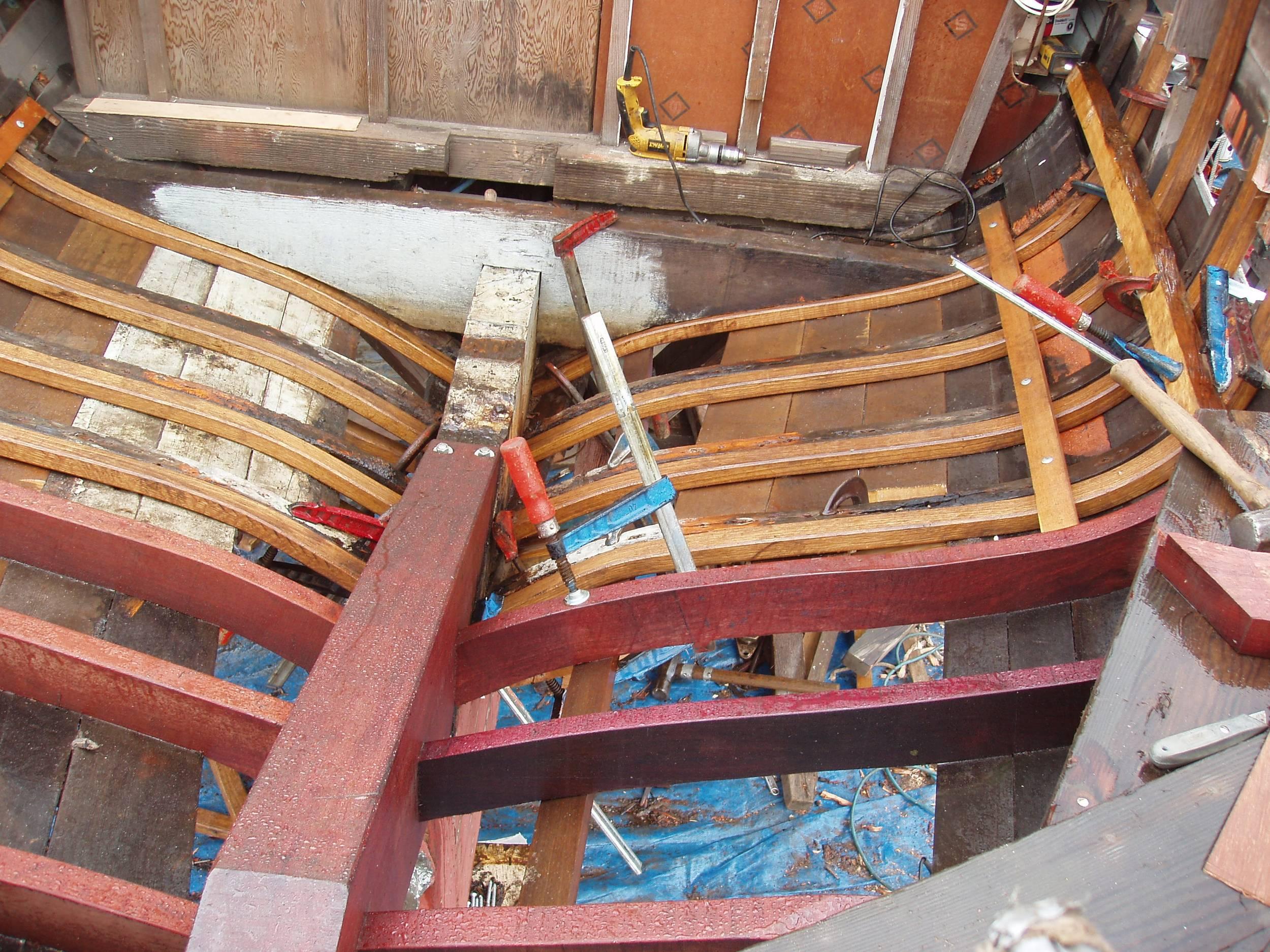 New horn timber, sawn frames, bent frames. Purpleheart and oak ...