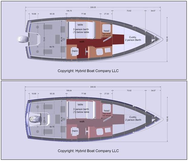 good boat floor plans #2: North Westerner 2510 Plan view, typical floor plans. Hybrid Boat Co