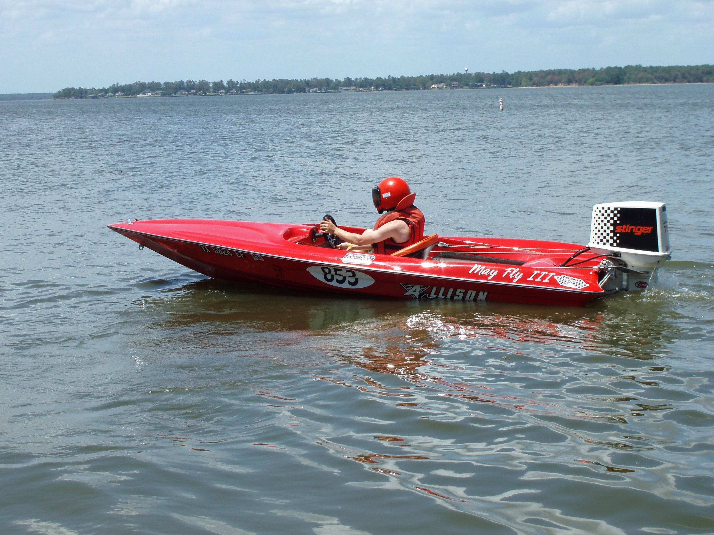 Red 1970s Era Race Boat And Motor